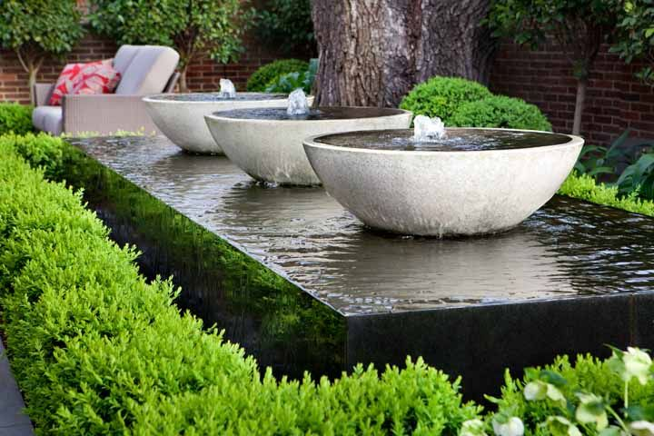 wonderful triple bowl water feature adamchristopherdesigncouk