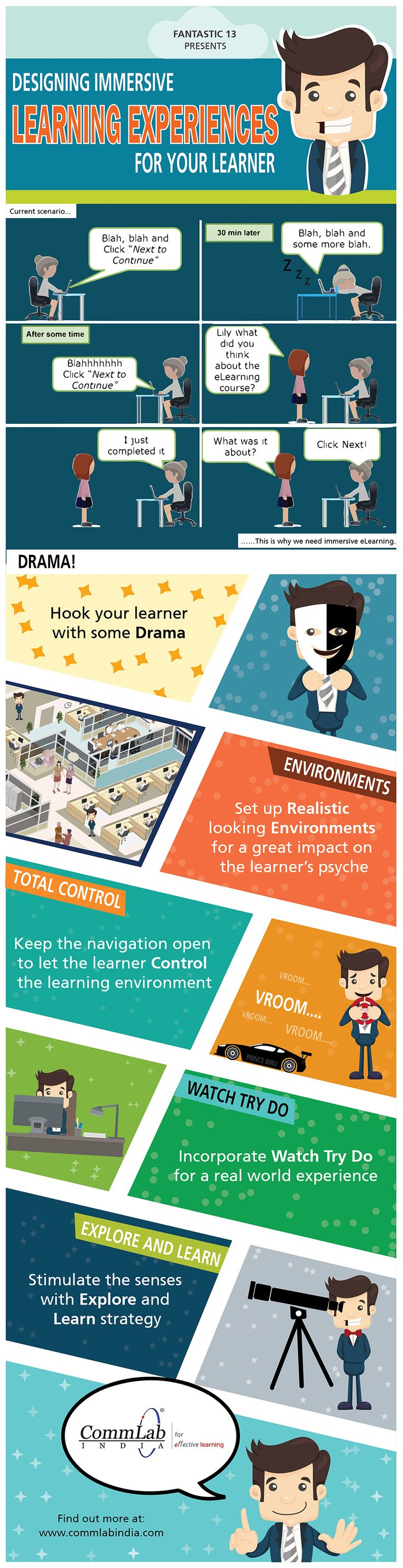 E learning poster designs - E Learning Design Tips To Create Immersive Learning Experiences Infographic