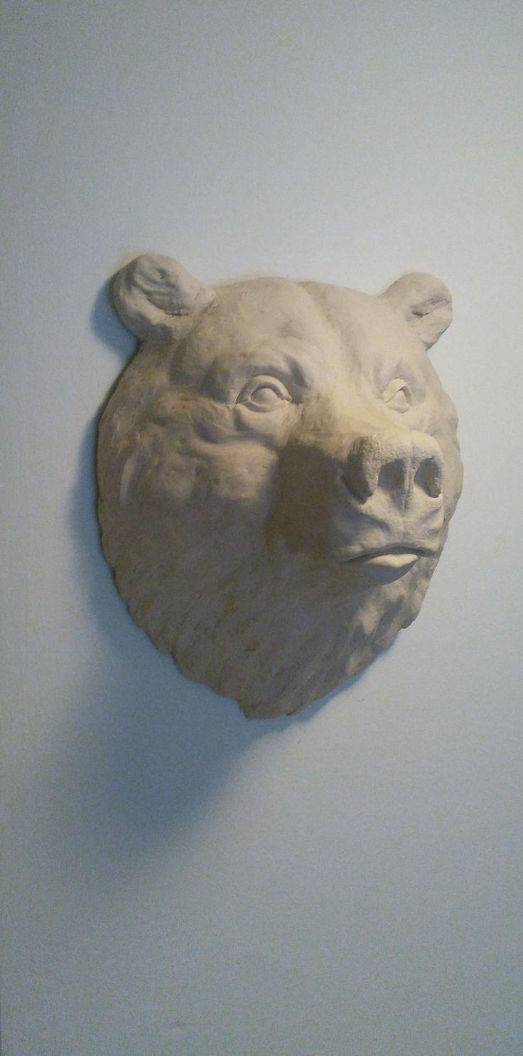 40x36x23 cm medve portré. Nem toxikus akril polimer.