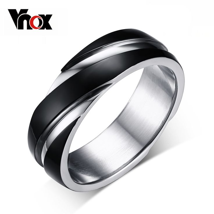 3 color wedding ring for men / women 316 stainless steel ring black / gold plated