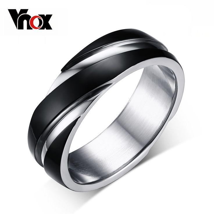 Vnox 3 colore anello di nozze per gli uomini/donne 316 anello in acciaio inox nero/oro-colore