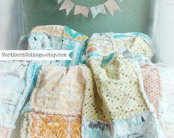 Edredón del bebé / / eliges CoLoR/estilo!!!! RAG QUILT / / tamaño - Shabby Chic, estilo rústico moderno, Cottage, Luxe, guardería, ropa de cama, edredón de cuna