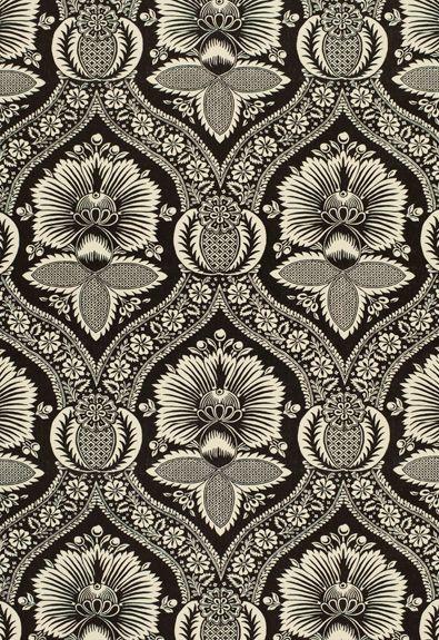 villandry damask printPrints Pattern, Charcoal Fabrics, Half Drop, Prints Charcoal, Fabrics Prints Black And White, Damasks Prints, Drop Pattern, Textiles, Villandry Damasks