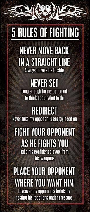 Good advice, but there is one more. Hit that bastard hard the first time, and before he can shake it off hit him again and again. Knock him flat and kick his face in. It's not cheating or being a dirty fighter, it's called winning. Unless he's out cold never underestimate the guy. Back away after the fight is over and watch for anybody that may want to step up to the plate.