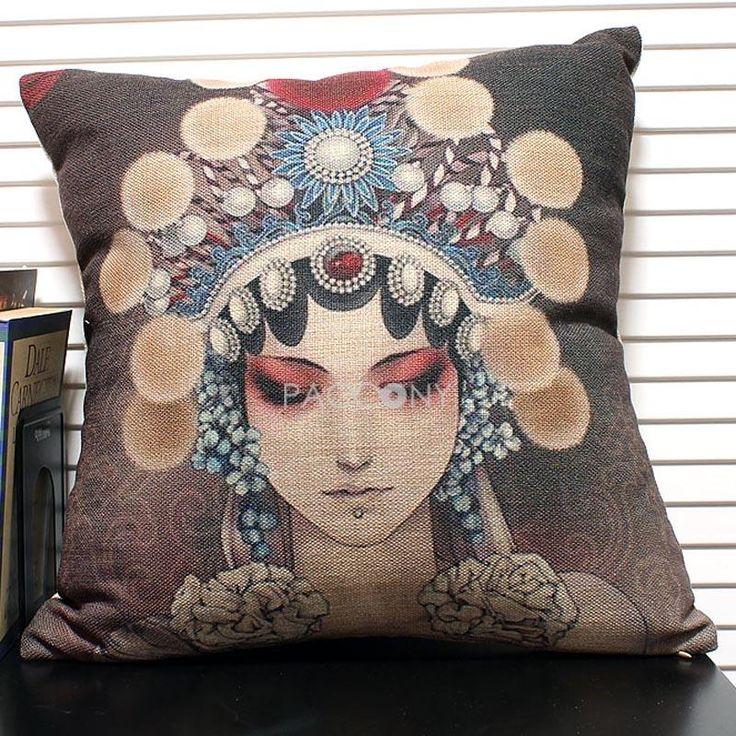2.26 Beijing Peking Opera Personality-Peking Opera Linen Decorative Pillowcase with Filling