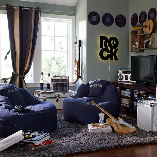 Blue grey gray rock music grunge style teenage boys bedroom. Records on wall!