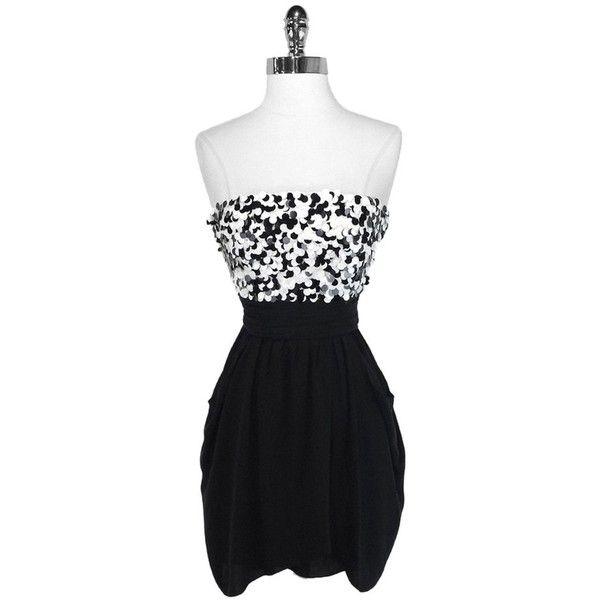 Black polka dot strapless dress
