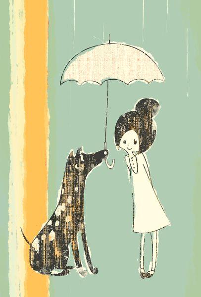 illustration via toelleRain Shower, Puppies, Dogs Art, Favorite Quotes, Digital Cameras, Rain Dogs, Prints, Friends Illustration, Art Illustration
