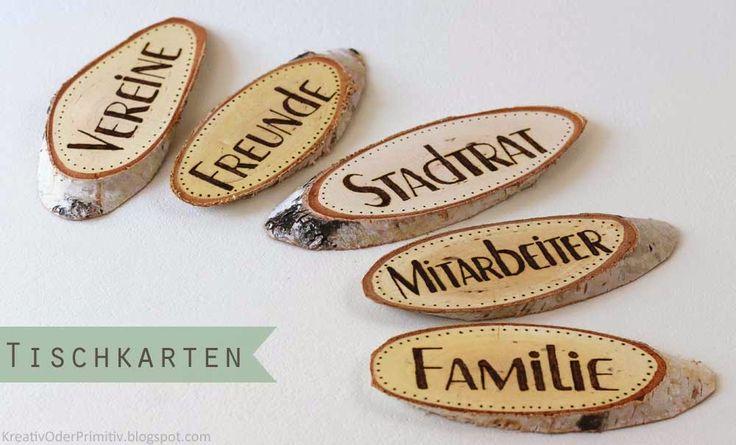 Platzkarten aus Holzscheiben Hochzeit Deko Weddig Tisch Name Holz Rustikal