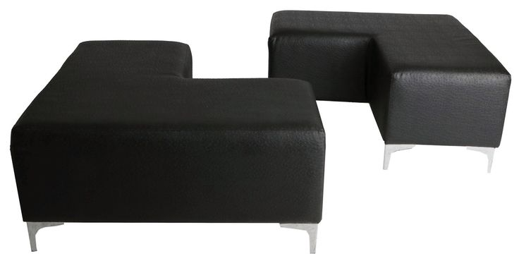 L shaped ottoman paired black