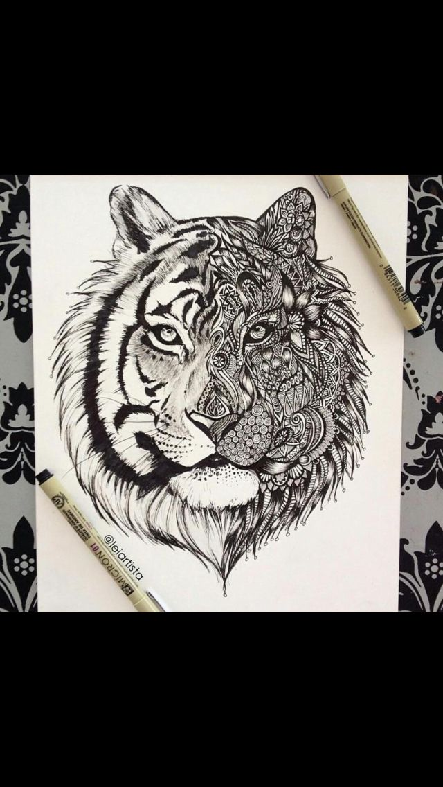 Way cool tribal tiger tattoo design