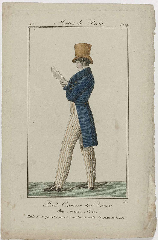 August Delvaux | Petit Courrier des Dames, 1822, No. 59 : Habit de draps colet pareil..., August Delvaux, Dupré (uitgever), 1822 | Man in een 'habit' van laken, met een kraag van idem laken. Gestreepte spanbroek van tijk. Hoge hoed met opstaande smalle rand van (otter)bont. Schoenen met hakken en vierkante neuzen. Papieren in de rechterhand. Prent uit het modetijdschrift Petit Courrier des Dames (1821-1868).