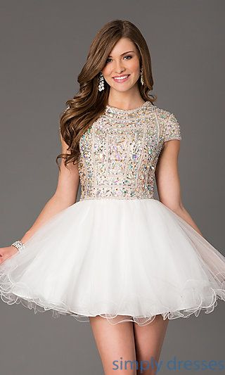 Short Sleeve Beaded Party Dress by Terani at SimplyDresses.com