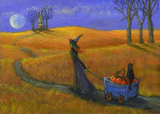 'The Pumpkin Cart' halloween witch cat art by Kathe Soave, ACEO art card