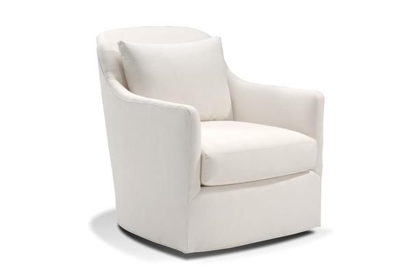 The Chelsea Swivel Tub Chair by Harden Furniture is a is a stunningly svelte transitional chair with a slightly flared arm, rounded edges, and a comfortable loose back pillow that beckons you to sink in and relax.