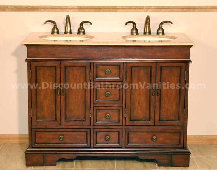 Picture Gallery Website Silkroad Exclusive Ashley Inch Double Sink Cabinet with Drawers Doors Travertine Top and Undermount Ivory Ceramic Sinks in Brown Finish