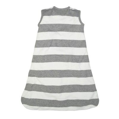 Burt's Bees Baby Organic Cotton Wearable Blanket - Rugby Stripes - Gray - M, Infant Unisex