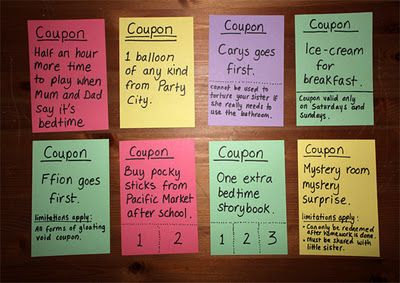 ice cream for breakfast and other fun coupons for the birthday kid i love this idea seriously most kids would want these