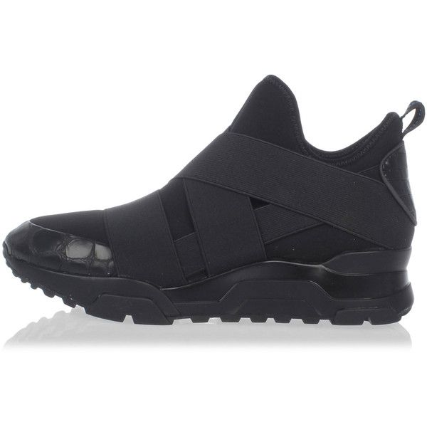 ASH Fabric & Leather Sneakers ($155) ❤ liked on Polyvore featuring shoes, sneakers, black, rubber sole shoes, kohl shoes, ash shoes, black shoes and ash trainers
