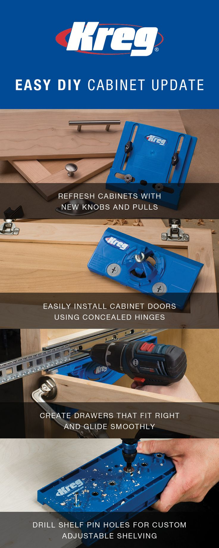 Kreg Hardware Installation Solutions make it easy to add the perfect final touch to your projects by allowing you to confidently install knobs and pulls, concealed door hinges, drawer slides, and adjustable shelves.