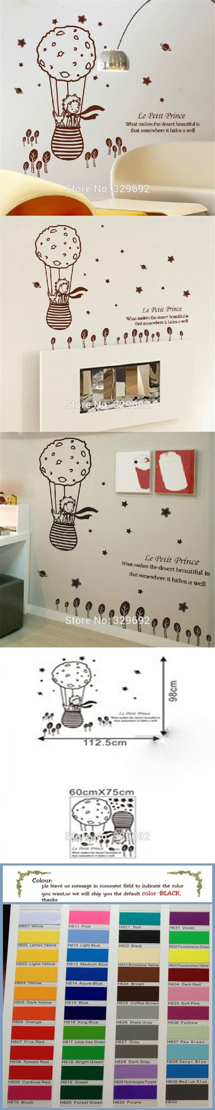 cute creative big size 112.5 x 98 cm for kids rooms little prince and the fox Removable wall stickers home decoration tx-506  $10.89