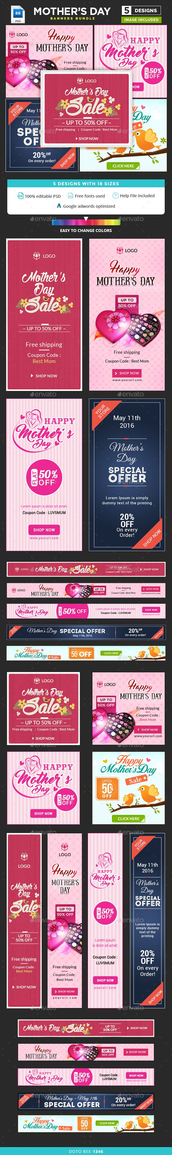 Mother's Day Banners Bundle - 5 Sets - 88 Banners Templates PSD. Download here: http://graphicriver.net/item/mothers-day-banners-bundle-5-sets-88-banners/15930861?ref=ksioks