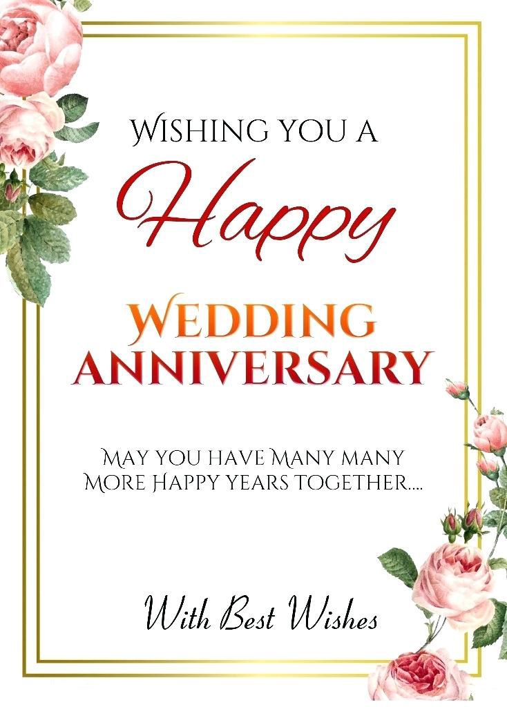 Wedding Anniversary Card. Anniversary Wishes; Congrats