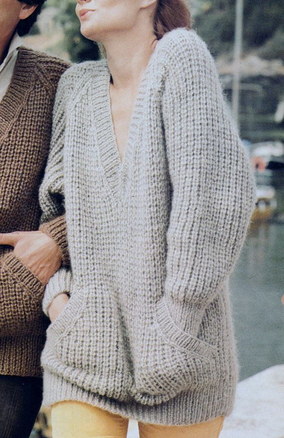 Instant Download PDF Vintage Row by Row Knitting Pattern to make Ladies Oversized Chunky Long Sleeve V Neck Sweater with Pockets Bust 34-42