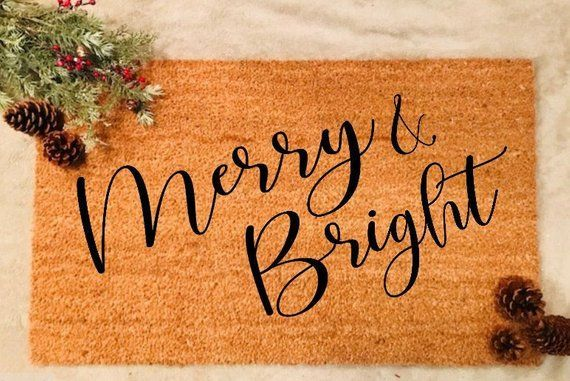 Merry And Bright Christmas Doormat Merry Christmas Doormat Custom