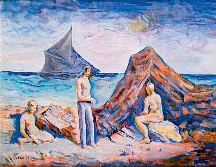 Carlo Carra - Uomini al mare, 1941