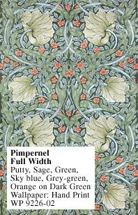 Historic Style - Pimpernel I Hand Print by William Morris, wallpaper