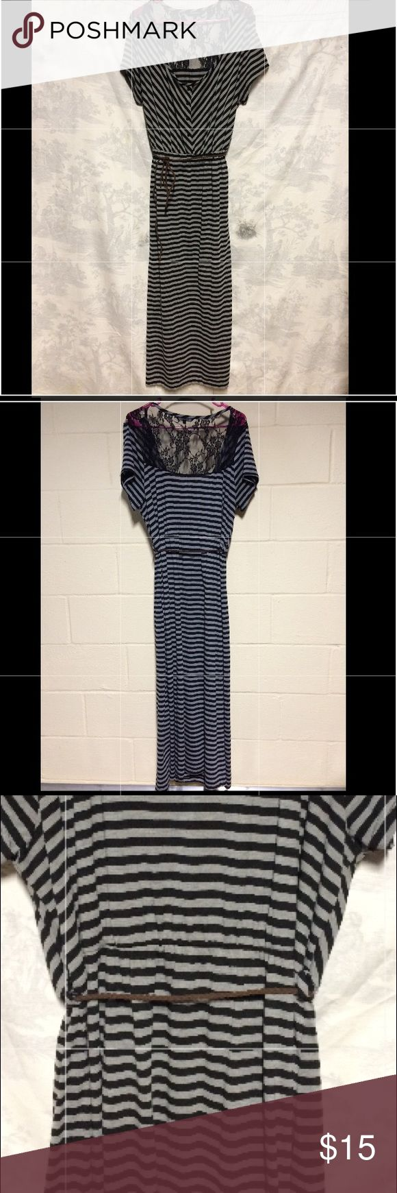Just Love black and gray stripped maxi with lace Just Love black and gray stripped maxi dress with brown rope belt and lace detail to back/neck area. EUC. Size 3X. Dresses Maxi