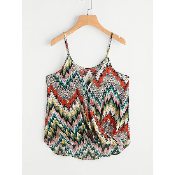 SheIn(sheinside) Aztec Print Surplice Cami Top ($8) ❤ liked on Polyvore featuring tops, multi color, white v neck tank top, v neck tank, sexy white tops, white v neck cami and sexy white tank top