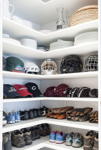 Mudroom storage.  Sports closet