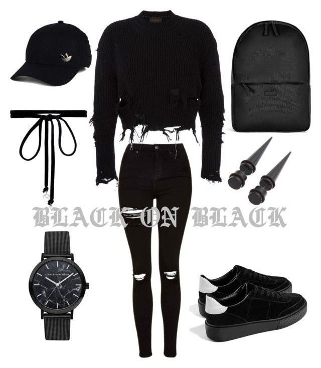 """⚫️"" by xxxanskuxxx on Polyvore featuring Topshop, adidas Originals, Joomi Lim, adidas and Rains"