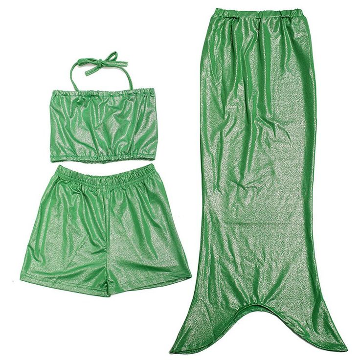 NEW ARRIVAL Hot Girls Mermaid Tail Swimsuit Swimming Shorts Pants Set Swimwear Kids Beach Green Three-piece Suit #Affiliate