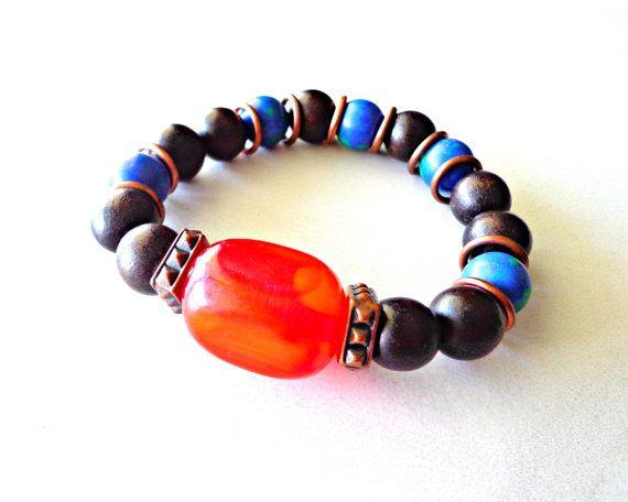 Mens Tribal Bracelet Gift For Men Birthday by KheperaAdornments