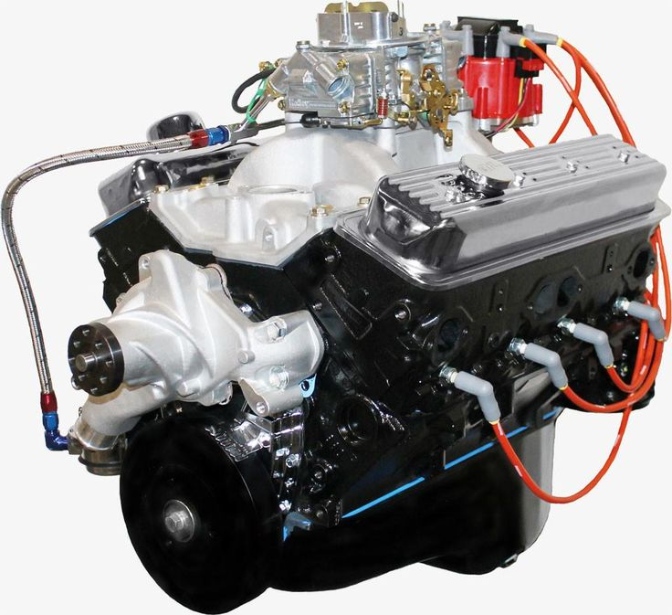 BluePrint Engines 383CI Stroker Crate Engine   Small Block GM Style   Dressed Longblock with Carburetor    Iron Heads   Roller Cam