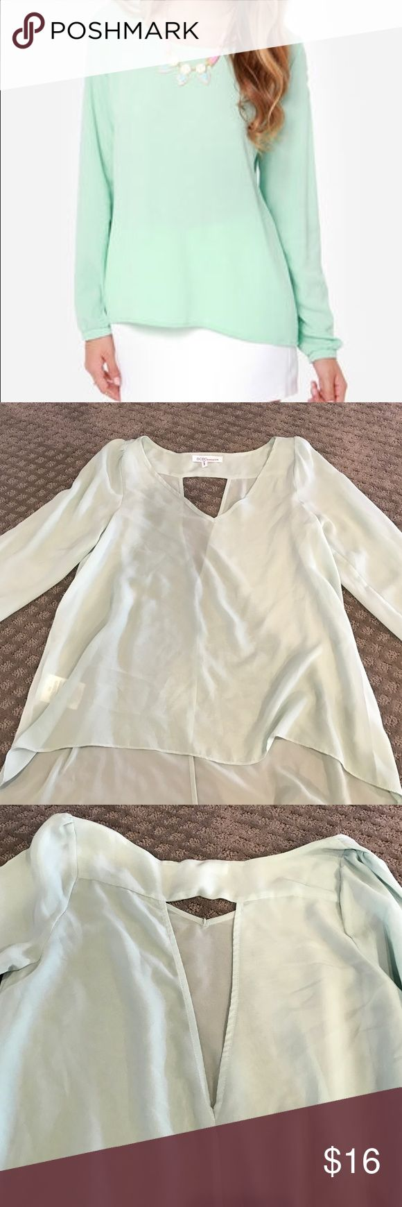 NWOT Mint Blouse Never worn Mint sheer Blouse with cute back cut out BCBGeneration Tops Blouses