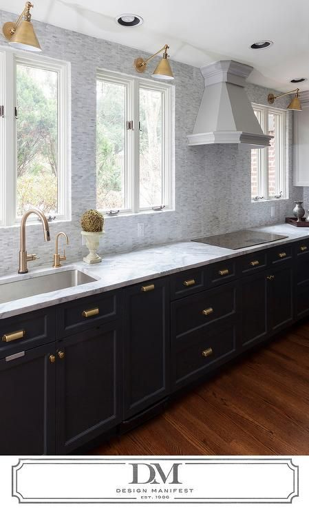 beautiful kitchen features dark gray cabinets painted benjamin moore raccoon fur adorned with on kitchen cabinets gold hardware id=71657