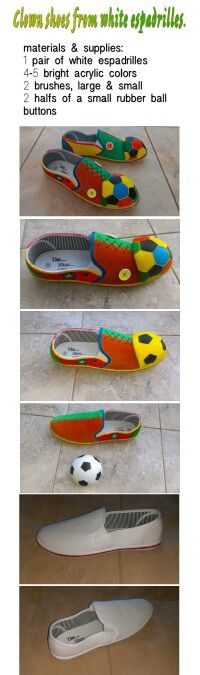 DIY clown shoes from white espadrilles.