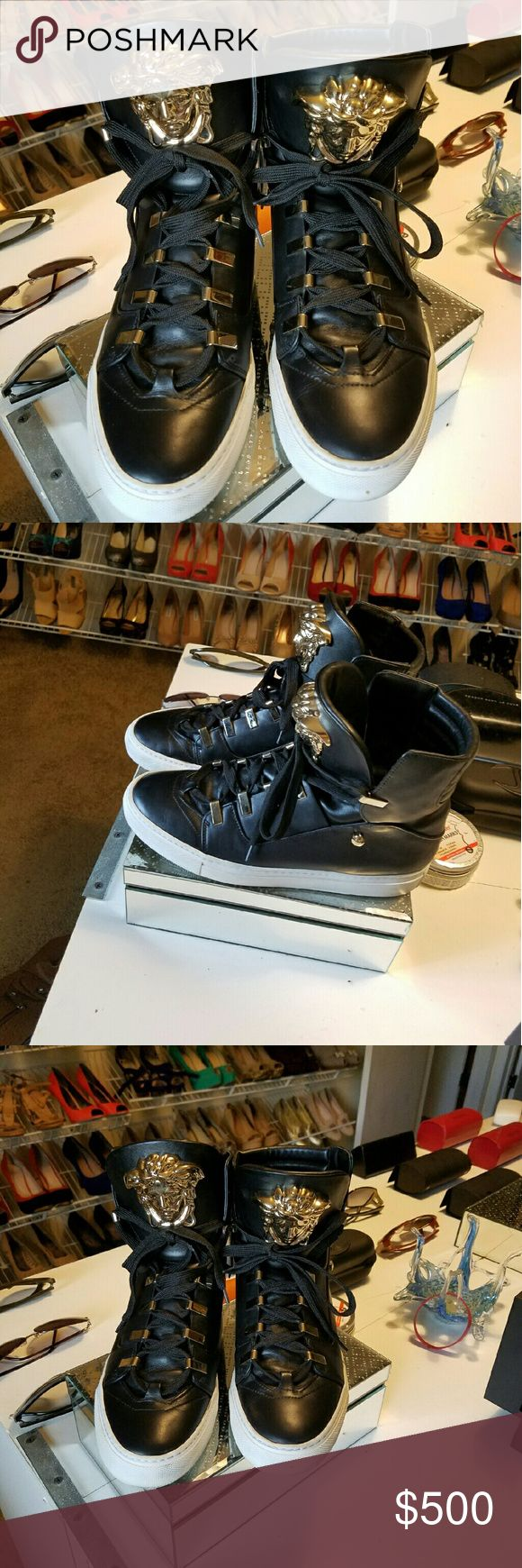 Versace sneakers this season black and gold Black and gold this season wore once box and duffel bag Versace Shoes