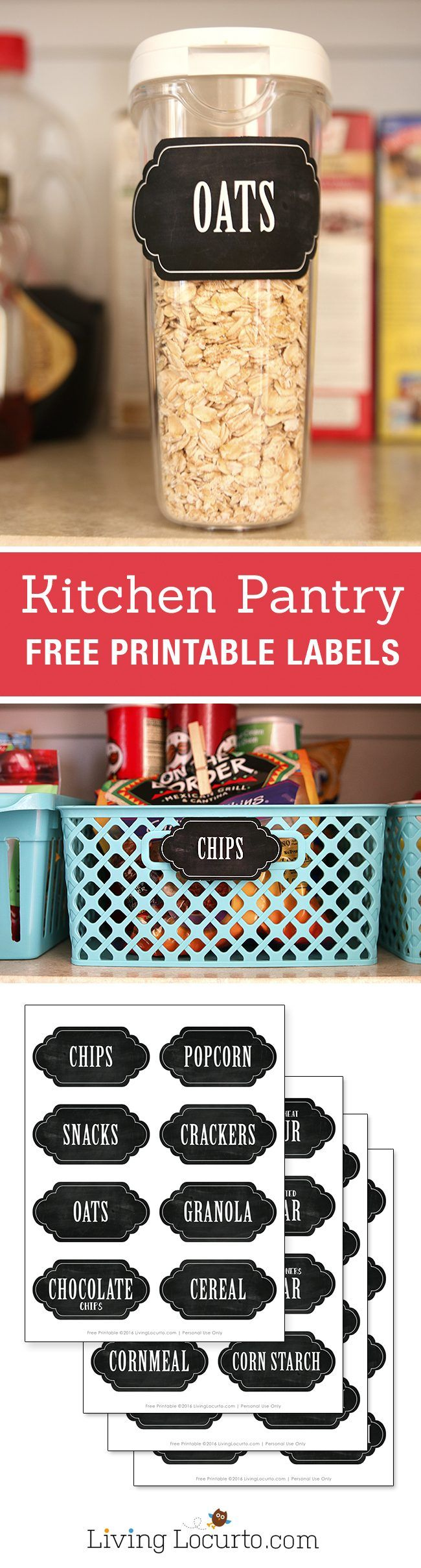 Makeover your kitchen pantry. Inspiring kitchen pantry organization ideas with free printable chalkboard labels. Easy home organizing ideas. LivingLocurto.com
