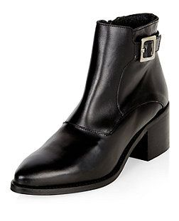 Black Premium Leather Buckle Side Pointed Ankle Boots  | New Look