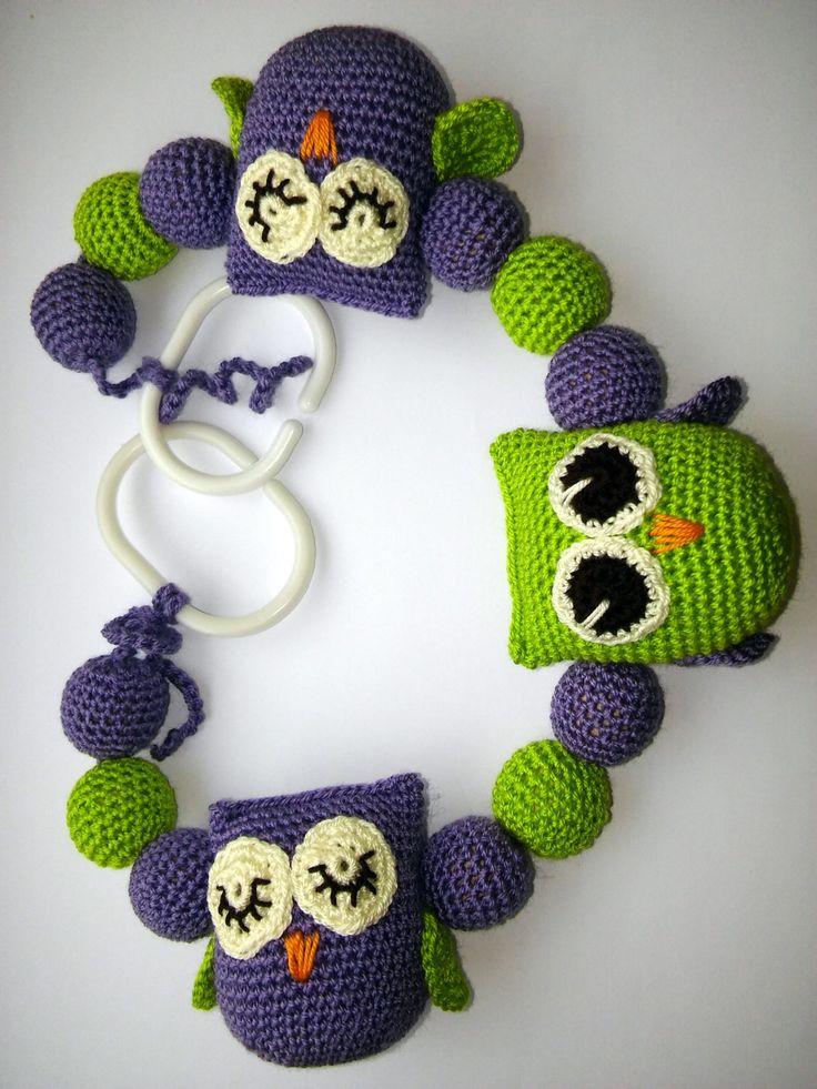 Stroller chain,Stroller toy chain,Pram chain, Crochet pram chain - owl, Clip on toy, Handmade,Wood beads by JointArtistGiftShop on Etsy