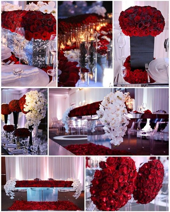 red black and white wedding reception, red roses, large center ...
