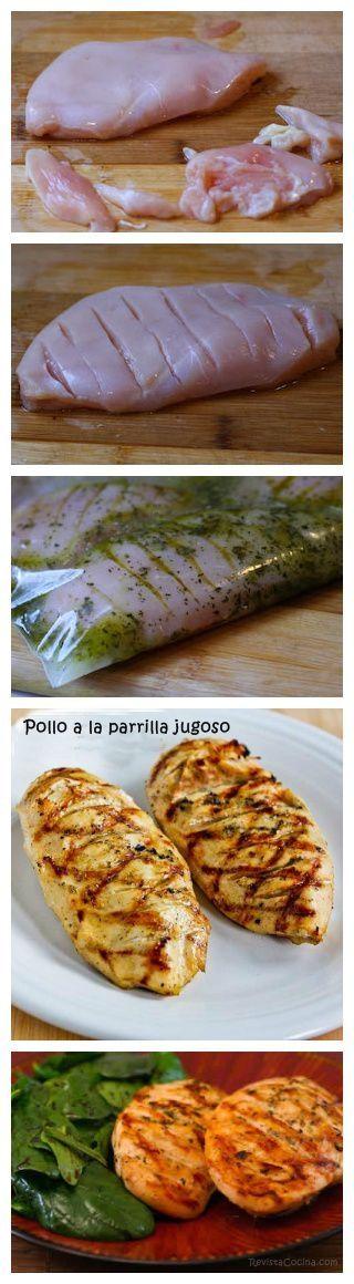 Pollo marinato con olio,limone,erbe provenzali,origano,sale,ecc...chiuderlo in un sacchetto e metterlo a marinare in frigo 6/8 ore, cuoce dolo alla piastra alla fine.