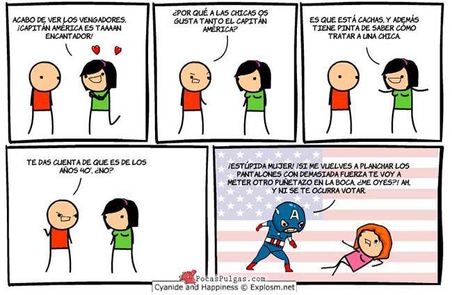 Cómic de Cyanide and Happiness en español: En los años 40' no creo que hayan tenido el mismo pensamiento sobre El Capitán América