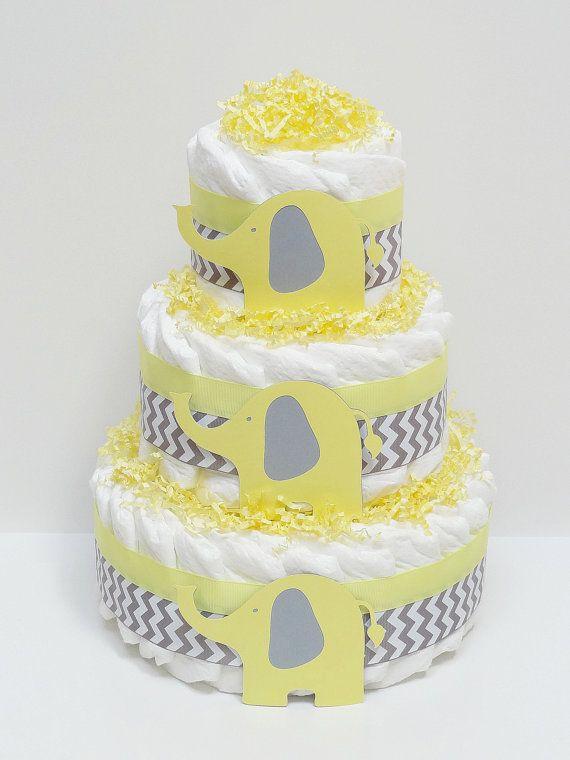 Yellow Gray Elephant Chevron Diaper Cake Baby Shower Centerpiece On