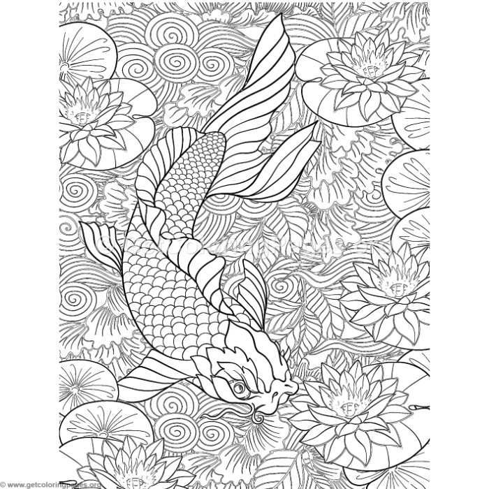 Free Download Japanese Painting Koi Fish Coloring Pages Coloring